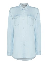 Replay Lyocell Denim Shirt With Pockets Blue