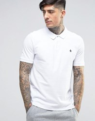 Original Penguin Winston Pique Polo Slim Fit Small Logo In White Bright White