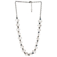 One Button Nickel Plated Glass Bubble Bead Necklace Clear