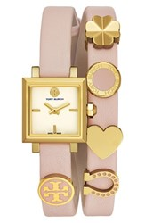Tory Burch Women's 'Saucy' Double Wrap Leather Strap Watch 25Mm Blush Ivory Gold