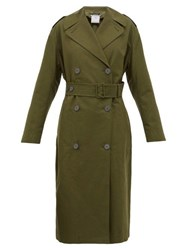 Stella Mccartney Belted Cotton Canvas Trench Coat Khaki