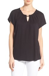 Women's Bobeau Metal Trim Keyhole Neck Top Black