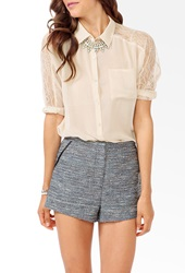 Forever 21 Lace Panel Dolman Blouse Cream