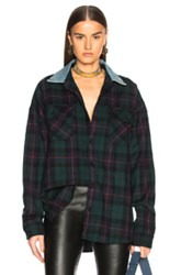 Fear Of God Oversized Flannel Button Down Shirt In Green Checkered And Plaid Green Checkered And Plaid