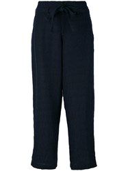 Aspesi Cropped Palazzo Pants Women Cotton Linen Flax Mohair 38 Blue