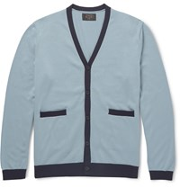 Beams Plus Slim Fit Contrast Trimmed Cotton Cardigan Blue