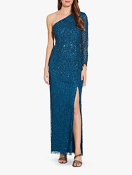 Adrianna Papell Beaded Column Dress Teal Sapphire