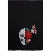 Alexander Mcqueen Black Wool Bloom Skull Scarf