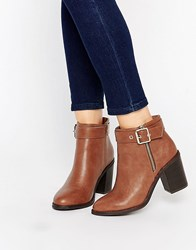 Miss Kg Janelle Buckle Heeled Ankle Boots Tan Synthetic