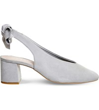 Office Magic Bow Suede Court Shoes Grey Suede