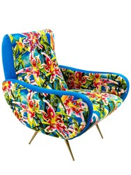 Seletti Flowers With Hole Printed Armchair Multicolor