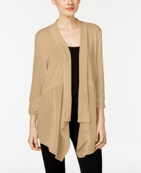 Ny Collection Chiffon Detail Open Front Cardigan Sesame