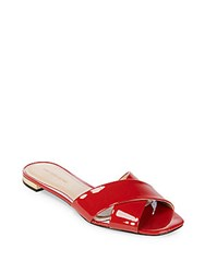 Saks Fifth Avenue Criss Cross Leather Slides Red