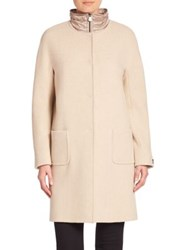 Cinzia Rocca Long Sleeve Wool Coat Sand