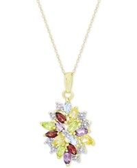 Victoria Townsend Multi Gemstone 2 1 8 Ct. T.W. And Diamond Accent Cluster Pendant Necklace In 18K Gold Plated Sterling Silver