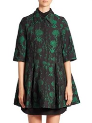 Erdem Yuri Carnation Jacquard Coat Black Green