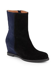 Bettye Muller Baley Two Tone Suede Boots Black Navy