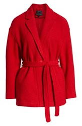 J.Crew Camille Short Boiled Wool Wrap Coat Bright Red