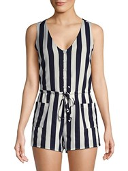 Lucca Couture Amber Striped Sleeveless Romper Navy Stripe