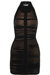 Balmain Cutout Ribbed Stretch Knit Mini Dress Black