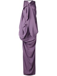 Rick Owens Draped Open Back Gown Women Silk Acetate 42 Pink Purple