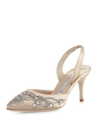 Manolo Blahnik Mectar Jeweled Satin Slingback Pump Champagn Women's Size 42.0B 12.0B Silver Beige Champagne