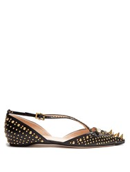 Gucci Unia Studded Leather Flats Black