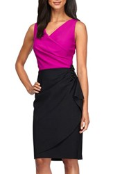 Alex Evenings Women's Embellished Side Ruched Colorblock Sheath Dress