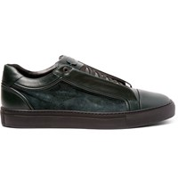 Brioni James Suede And Leather Sneakers Green