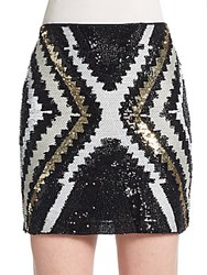 Romeo And Juliet Couture Sequined Mini Skirt Black Gold