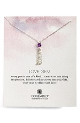 Women's Dogeared 'Love Gem' Tassel Chain Pendant Necklace Amethyst Silver