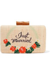 Kayu Just Married Embroidered Woven Straw Clutch Sand