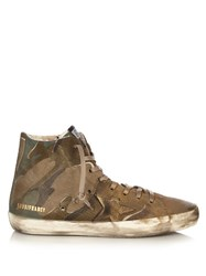 Golden Goose Francy Camouflage Print High Top Canvas Trainers