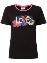 Saint Laurent Love Print Ringer T Shirt Black