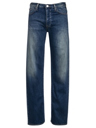 Armani Jeans Button Fly Straight Jeans Mid Blue