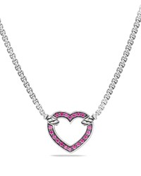 David Yurman Valentine Hearts Pink Sapphire Station Necklace