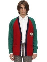 Gucci V Neck Wool Knit Cardigan W Patch Red