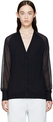 3.1 Phillip Lim Navy Silk Panel Cardigan