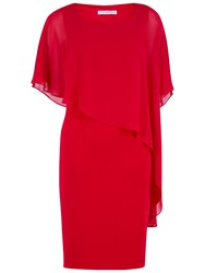 Gina Bacconi Moss Crepe Dress And Chiffon Cape Red