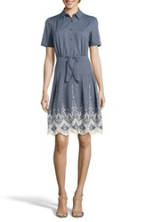 Eci 'S Lace Trim Denim Shirtdress Blue Ivory