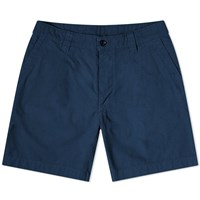 Albam Garment Dyed Ripstop Pleated Short Blue