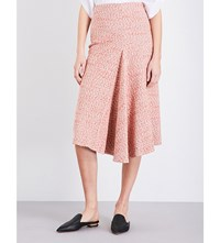 Victoria Beckham Textured Woven Midi Skirt Orange White