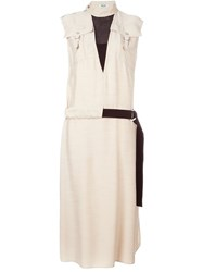 Kenzo Tie Waist Dress Nude And Neutrals