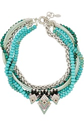 Elizabeth Cole Carley Layered Silver Tone Swarovski Crystal And Faux Turquoise Necklace