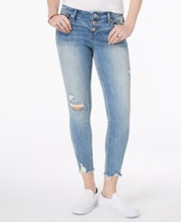 Vanilla Star Juniors' Ripped Button Fly Skinny Jeans Langston
