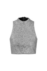 Metallic Silver Tinsel High Neck Crop Top By Jaded London