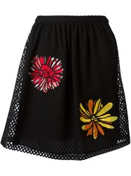 Boutique Moschino Floral Embroidered Mesh Skirt Black