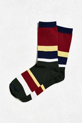 Urban Outfitters Rugby Stripe Sock Maroon
