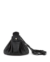 Il Bisonte Drawstring Leather Crossbody Pouch Bag Black