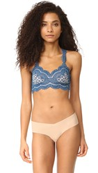 Free People Strange Magic Flocked Bra Blue Combo